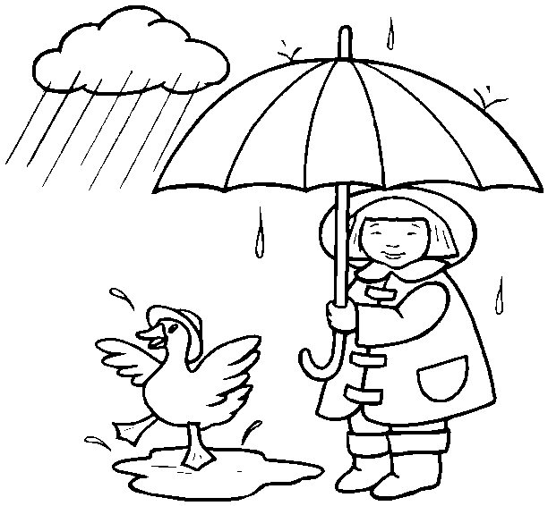 Girl With Umbrella And Duck In Rain